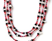 Extra Long Red Black Crystal Wrap Necklace/ Sparkling Multi Strand Rock Crystal Swarovski Festive Specail Occasion Flapper Necklace/ OOAK - ALFAdesigns