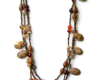 Beige Brown Bronze Natural Stones Necklace, Chunky Extra Long Picture Jasper Statement Necklace, Semiprecious OOAK Unique, ALFAdesigns