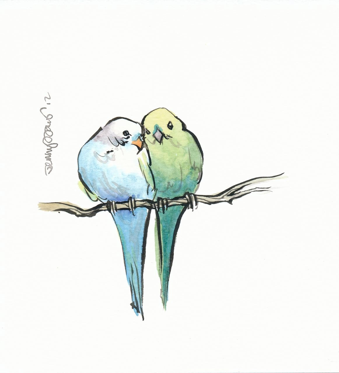 Two Birds On A Branch Original Painting