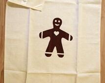 Gingerbread man - Pepparkaksgubbe - Scandinavian style - hand screen printed tea-towel