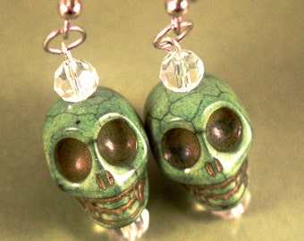 Green Turqoise Skull Dangle Earrings