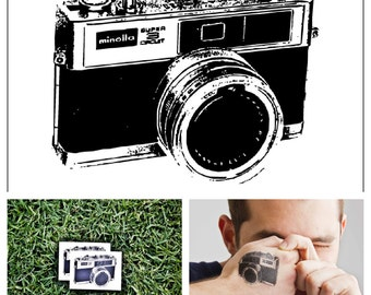 Vintage Camera - temporary tattoo (Set of 2)