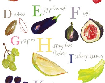 ABC fruits. Home Wall Art Limited Edition Print by Faye Bradley