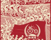 """Bike Propaganda Poster-- 18x24 inch """"Ride to Power"""" Limited Edition Signed Bicycle themed poster Screenprint on French Paper"""