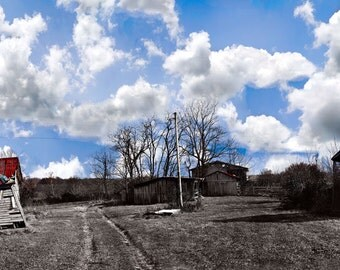 Tranquil Farm Panorama-Selective color image photograph of a big sky midwest farm