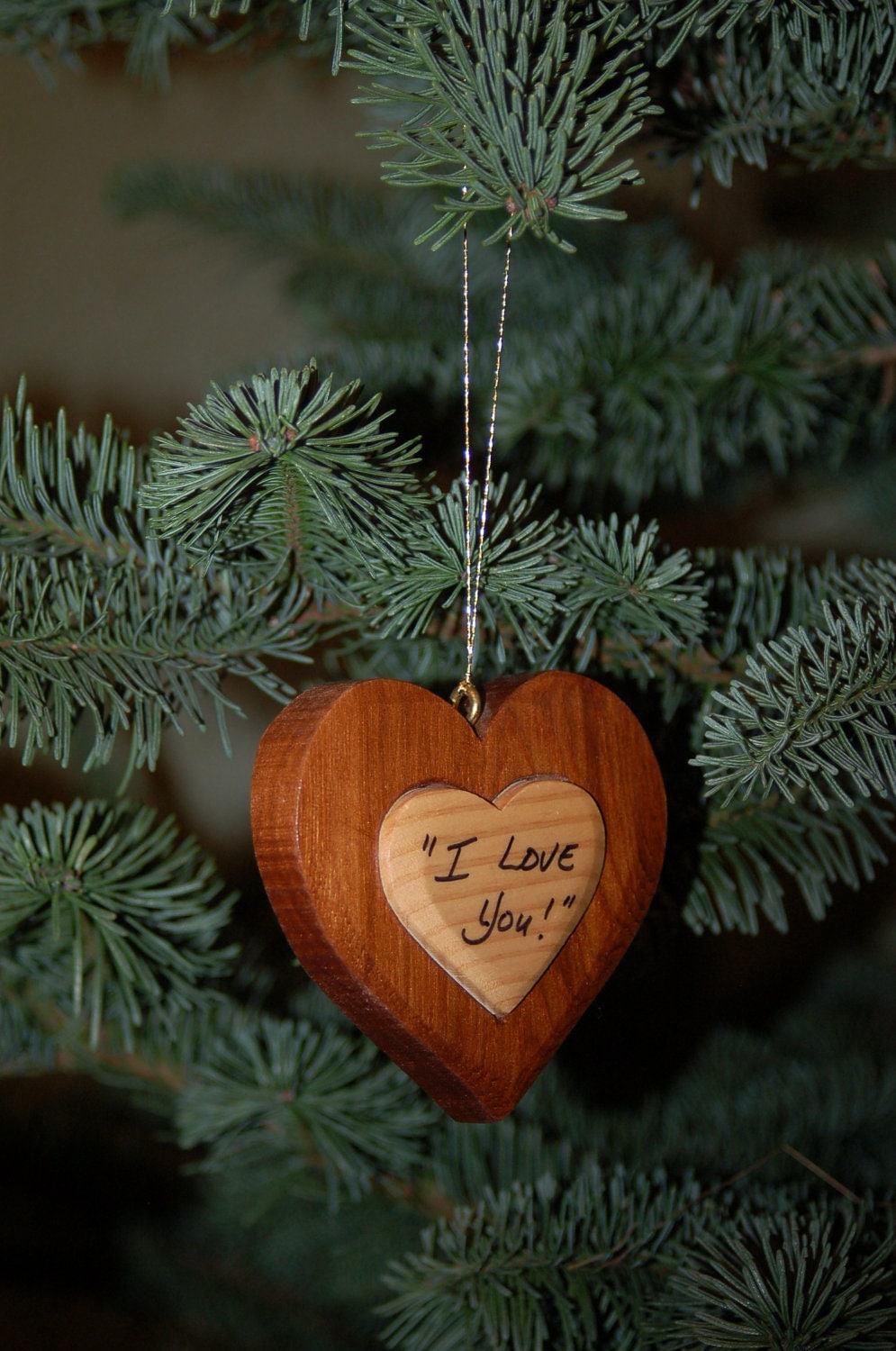HEART CHRISTMAS ORNAMENT Carving. This wooden heart will be a treasured holiday decor, and remind them that you are thinking of them.
