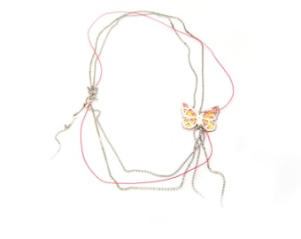 """Silver necklace """"Butterfly on the wire"""""""