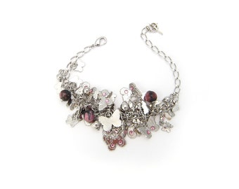 Butterfly pendants Rhodonite bracelet