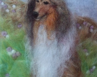 Rough Collie Needle Felted Picture, Handcrafted, 3D Wall Art, Merino Wool, Felt Rough Collie, Dog Picture, Dogs, Dog Art, Xmas Gift Idea