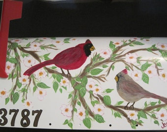 Hand Painted Mailbox with Male & Female Cardinals in a Dogwood Tree