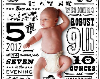 Custom hand-lettered baby announcement