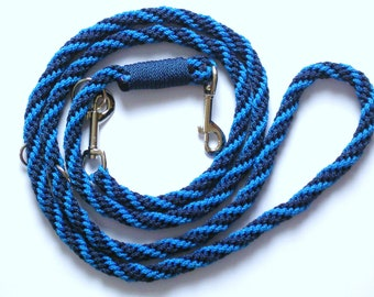 dog leash, hand-plaited, royal blue and navy blue