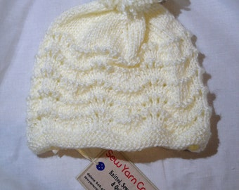 Hand Knit Baby Hat in Antique White 12-24 months