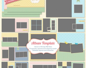 Photoshop Album Templates for Photographers 12x12 suitable for Baby Children Family, WHCC Spec