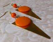 Brass Triangle and Orange Earring
