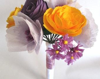 Purple & Yellow Wedding Bouquet, Paper flower bouquet
