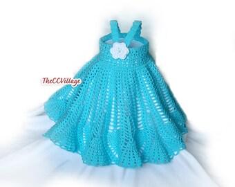 Teal Crochet dress set flower girl dress infant girl dress