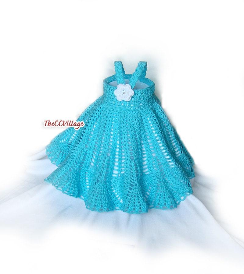 Crochet baby girl dress Flower girl dress teal Dress Girl