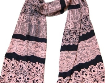 Lace Pattered Scarf in Navy & Pink , Elegant Fashion striped 1520 Scarf