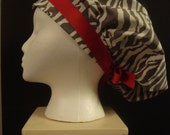 Gray Zebra and Red Bouffant Surgical Scrub Hat