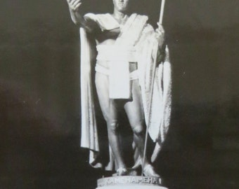 Original 1940's King Kamehameha Hawaii Statue At Night Snapshot Photo - Free Shipping