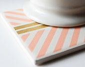 Barely Imperfect: Peach & Gold Hand Painted Geometric Coasters- Set of 4