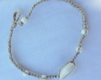 Shell Anklet - Hemp Cord and Wood Beads