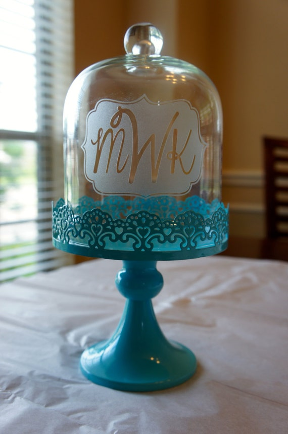 Personalized Cake Stand with Glass Dome