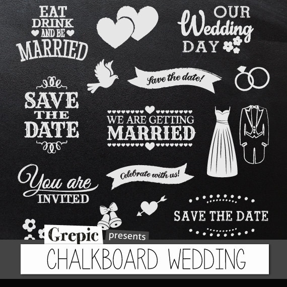 """The Wedding Date Quotes: Chalkboard Clipart Wedding: Digital Clipart """"CHALKBOARD"""