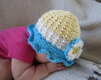 KNITTING PATTERN pdf Baby Hat - Knit baby Hat - Knit summer Hat - Cotton Hat - Knit pattern