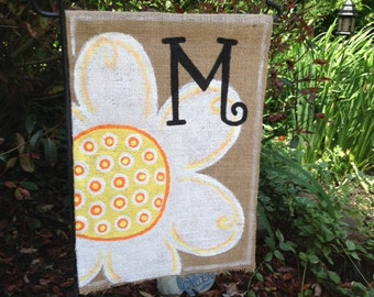 Burlap Garden Flag with Flower and Initial