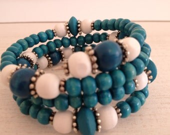 Handmade bracelet with wooden beads