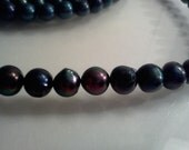 Cultured Freshwater Pearl Round Beads Black 9-10mm 7 inch Strand S1011