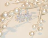 Snowflake Earrings on Plastic Ear Hooks, Simple plastic earrings, Nylon French Hook Ear Wires, metal allergies, winter jewelry