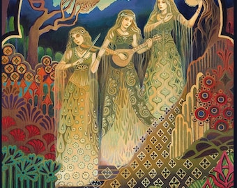 The Sisters of Mercy 5x7 Greeting Card Psychedelic Pagan Gypsy Music Witch Bohemian Mythology Goddess Art