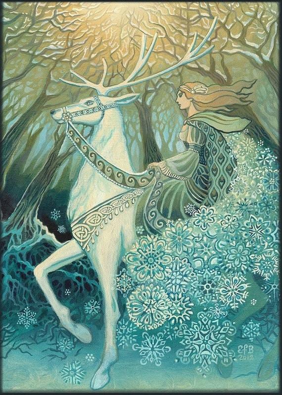 Snow queen 5x7 greeting card fine art print pagan mythology zoom m4hsunfo