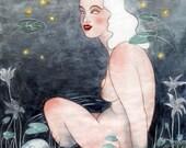 Fireflies art postcards by Johanna Öst
