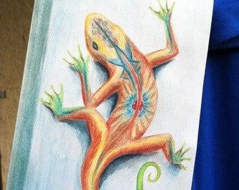 "Southwestern Lizard Original Watercolor Painting 5"" x 7"" by Mary Rogers, Handmade USA, Aztec, Spanish"