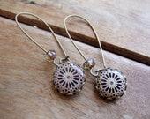 Spanish Islamic earrings, Alhambra, Spain, Islamic tile cabochon, handmade, Bohemian jewelry, ethnic earrings, Tribal jewelry, Made to order