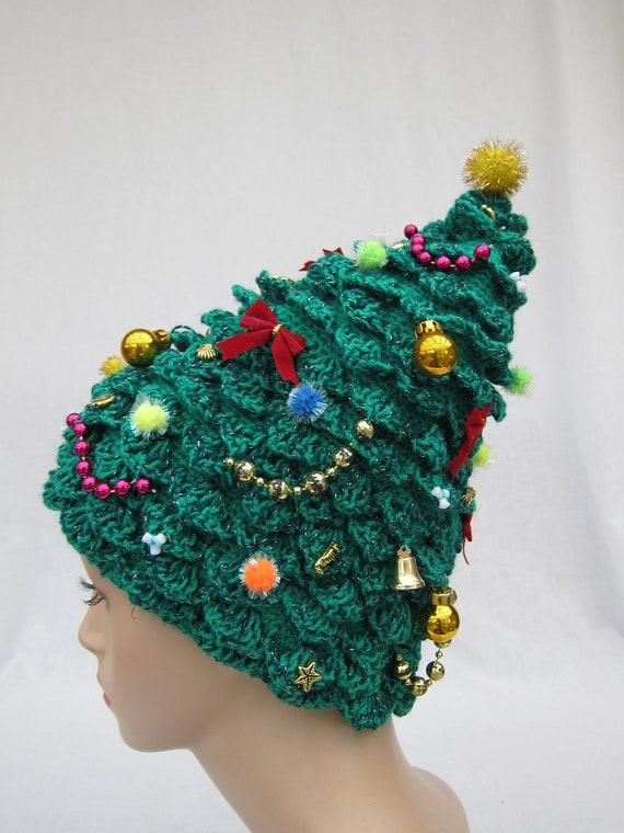 Christmas Tree Hat Crochet Hat Creative Hat Green Hat