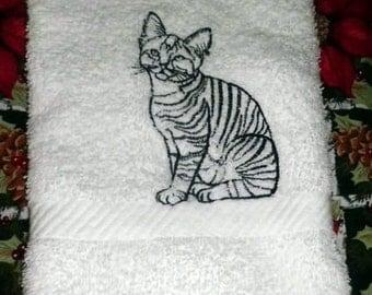 Tiger Kitty Cat Black Outline White Bath Hand Towel