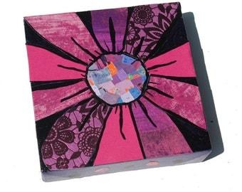 Purple Gerber Daisy Art - Original Art - flower Art - pink and purple floral Art - Mixed Media Collage Art by Claudine Intner