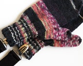 Kids Thumbed Mittens With Metal Coat Clips. Childs Black and Pink Hand Knit Wool Winter Gloves With Thumbs. 2 to 4 Years. Handwarmers