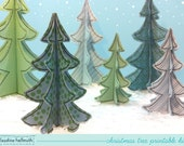 christmas trees with holiday ice skaters - party table centerpiece, paper decoration kit printable PDF - INSTANT download