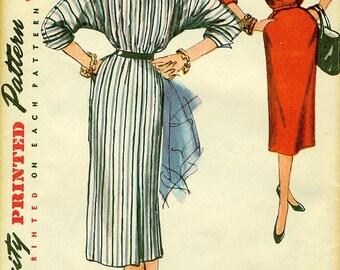 Simplicity 4798 UNCUT BATWING DRESS - 1954 Fashion