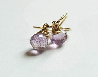 Vermeil Ear-rings with Light Purple Amethyst Onion Briolettes (One Pair)