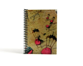 Pink Chairs Writing Journal, Back to School, Pocket Blank Sketchbook Spiral Bound, 4x6 Inches Notebook, Diary Travel, Gifts Under 15, Ciaffi