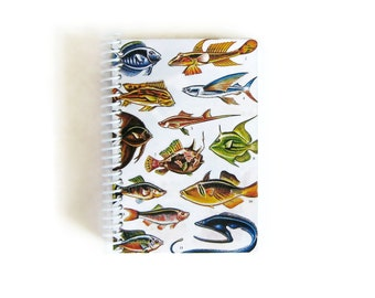 Tropical Fishes A6 Spiral Blank Notebook, Sketchbook, Small Spiral Bound Writing Pocket Journal Diary, Recipes Notebook, Gifts Under 15