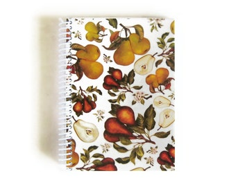 Pears Recipe Notebook, Sketchbook, Spiral Bound Writing Journal, Small 5x7 Inches Notebook, Back to School, Cute Garden Notebook, Ciaffi