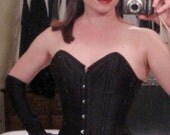REDUCED 33% black satin corset size 4 or 6